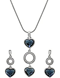 Mahi Valentine's Day Gift Lovely Hearts Layer Rhodium Plated Pendant Set With Swarovski Crystals For Women NL1104146R