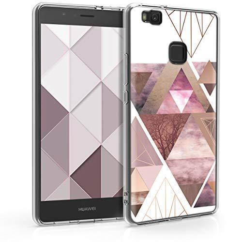 kwmobile Huawei P9 Lite Hülle - Handyhülle für Huawei P9 Lite - Handy Case in Glory Dreieck Muster Design Rosa Rosegold Weiß