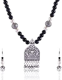 RAI COLLECTION Black Silver Strand Necklace Set For Women (RAI066)