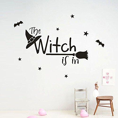 Happy Halloween Hexe Bat Wandaufkleber Fenster Dekoration Aufkleber Dekor DIY Hauptdekorationen Hexe Schwarz Brief Wandaufkleber 50 * 70 cm (Halloween-farbe Per Brief)