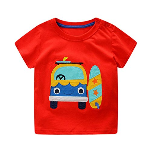 KaloryWee Unisex Kids Boy Tops Pullover Sweaters Blouse Holiday Style Cartoon Car Embroidery Short Sleeve T Shirt Jumpers Sweatshirt Clothing 1 2 3 4 5 6 Years