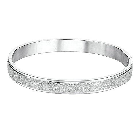 Knsam Bracelet Jonc Homme Femme Acier Inoxydable Noir/Or Rose/Argent Bracelet Couple Classique Prix pour 1PC