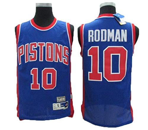 Herren Basketball Trikots # 10 Rodman Pistons Unisex Atmungsaktiv Abriebfest Stickerei Basketball Uniform Fitness Weste Sporthemd,Xl(185cm/85~95kg)
