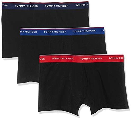 Tommy Hilfiger Herren 3P Trunk Boxershorts, Mehrfarbig (Tango Red/Peacoat/Sodalite Blue 076), Small (Herstellergröße: SM) -