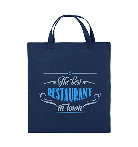 Comedy Bags - The Best Restaurant in Town - Jutebeutel - Kurze Henkel - 38x42cm - Farbe: Navy/Eisblau-Hellblau