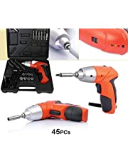 FreshDcart FDCTG4 Automatic Screwdriver Machine Drill M/C Set with 45 Pieces Bit Kit and Charging Adapter for Home (Orange)
