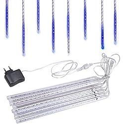 Han Lucky Star LED Lichterkette 30cm 8 Tubes Meteorschauer Röhren wasserdicht Meteor Licht Beleuchtung für Weihnachten Party Hochzeit Haus Garten (Blau)
