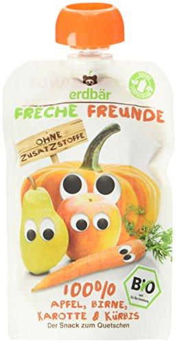 Freche Freunde Bio Quetschie 100% Apfel, Birne, Karotte & Kürbis, 6er Pack (6 x 100 g) Ganze Karotten