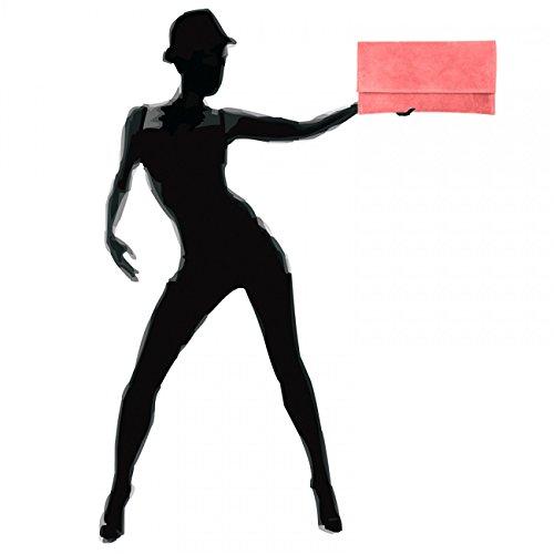 Pochette Da Donna In Pelle Scamosciata / Suede Caspar Tl702 Con Passamano In Corallo