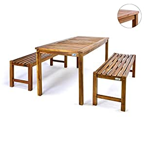 divero gartenm belset picknickset akazienholz bank tisch massiv holz 2 b nke 1 tisch. Black Bedroom Furniture Sets. Home Design Ideas