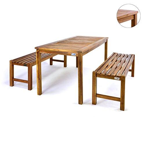 Divero Set 2 Bänke + 1 Tisch in Akazienholz