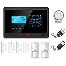 LKM Security - Kit alarma antirrobo inalámbricaWG-YL007M2E, módulo GSM/PSNT, con 4sensores y 2detectores de movimiento por infrarrojos, color negro