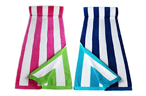 Restmor telo mare in cotone 100% - set da 2 pezzi per lui e lei - candy stripes blu o rosa - misura 85x165cm