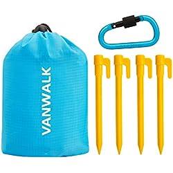 VANWALK Outdoor Picknickdecke 55 x 71 Zoll - Kompakte, wasserdichte Taschendecke Beste für Reisen, Wandern, Camping, Parks - Langlebig, Sand Proof Handtuch mit Ecktaschen, Loops und Bag