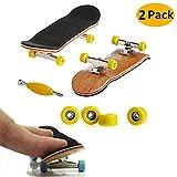 AumoToo Mini Tastiera, 2 Pacchi Finger Skateboard Professionale Acero di Legno Assemblaggio Fai da Te Skate Boarding Giochi di Sport Giocattolo Giochi per Bambini (Giallo)