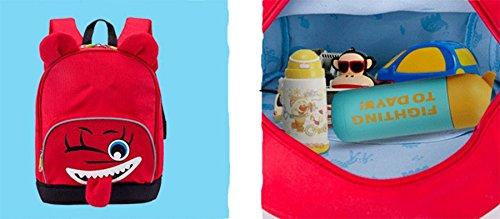 Ohmais Kinder Mädchen Junge Unisex Rucksack Schule Grundschule Kindergarten Zeichnung Rot