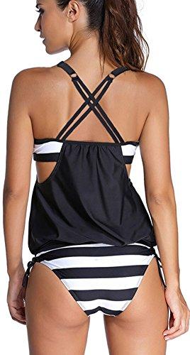TDOLAH Damen Sport Yoga Fitness 3-Teilig Tankini mit Shorts Strand Bikini Set mit Top Black