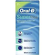 Oral-B Super Floss Mint Dental Floss Pre-Cut Strands 50,Pack of 6