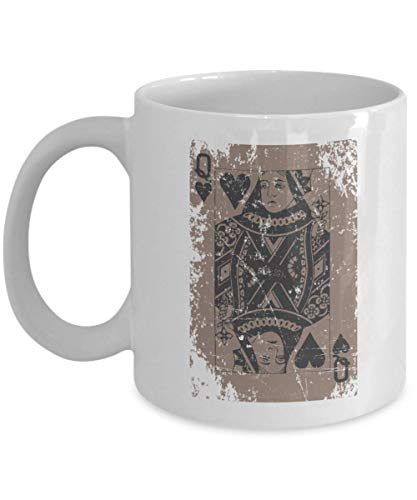 Cool Oldstyle Distressed Queen Of Hearts Playing Cards Coffee & Tea Gift Mug Cup For Card Game Players, Magicians, Illusionists, Magic Tricks Performers, Street Magician, Men & Women Magic Lovers