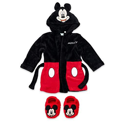 Disney Baby Set Bademantel + Schuhe Jungen schwarz rot   Motiv: Mickey Mouse   Geschenkset für Neugeborene & Kleinkinder   Größe: schwarz-rot 6-9 Monate (74)