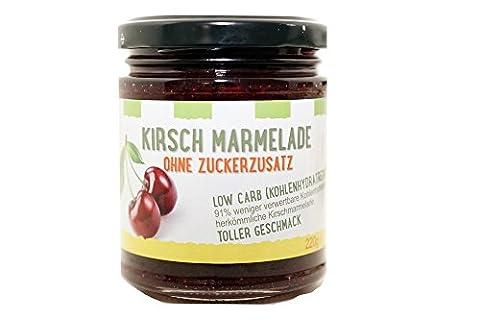 Kirsch Marmelade low carb / 91% weniger verwertbare Kohlenhydrate als herkömmliche Kirschmarmelade / ohne Zuckerzusatz / 1 x 220g (1-er Pack) / von Zimmermann