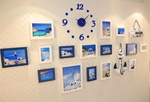 X&L Mediterrane aus massivem Holz Kombination Foto Frame Kombination Continental Ruder Meer Wand Wandbild , blue and white clock - 3