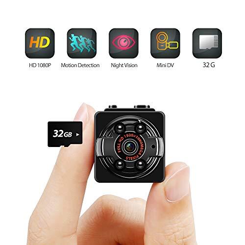 Innoo Tech Mini Kamera Full HD 1080P, Überwachungskamera Mini Cam mit Infrarot Nachtsicht und Bewegungserkennung, Videokamera/Tragbare Kamera mit 32G TF Card