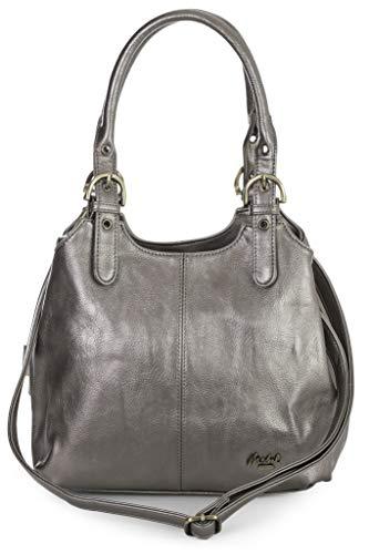 Mabel London Mehrfachtaschen Mittlere Größe Umhängetasche/Schultertasche für Frauen - Mit langem Schulterriemen - AMELIA (Metallisch (Hartzinn)) - Designer-medium-tote -