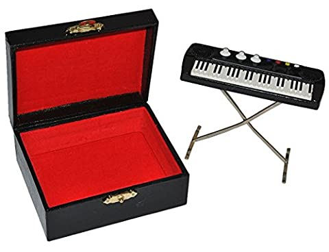 Miniatur Keyboard / E-Piano mit Kasten - Holz Maßstab 1:12 - Puppenhaus Piano Klavier - Musikinstrument Musik Instrument Tasteninstrument