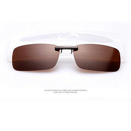 Xatan Polarisierte Sonnenbrille Clip Brillen Aufsatz Brillenträger für Unisex (Braun)