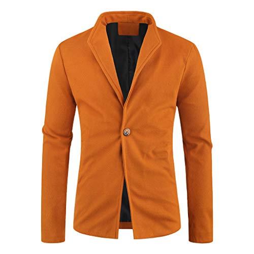Hombre Elegante Casual SóLido BotóN Turn-Down Business Outwear Abrigo Traje Tops Americana Casual...