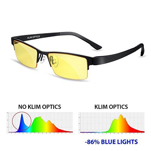 KLIM Optics Brillen mit Blaulichtfilter - NEU – Hoher Schutz - Gaming Brillen für PC, Handy und Fernseher – Anti-Müdigkeit, Anti-Blaulicht, UV-Schutz