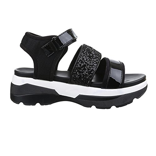 Damen Schuhe, H217, SANDALEN PLATEAU GLITTER Schwarz