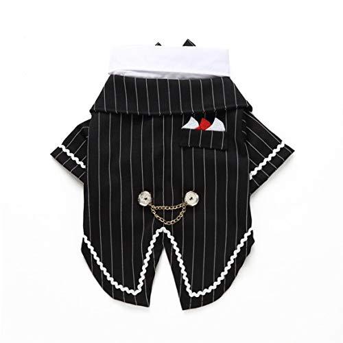 Nette Gentleman Hund Fliege Swallowtail Kleidung Denim Hochzeit Party Haustier Shirt komfortable Haustiere Kostüm Outfit - weiß & schwarz M