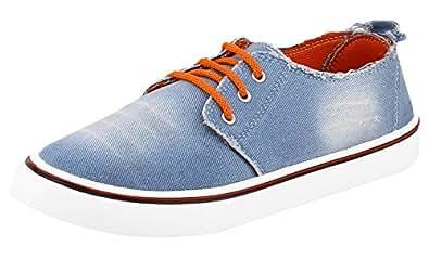 Chevit Men's Stylish 112 Blue Orange Wash Jeans Fashion Loafers & Moccasins Shoes (Casual Shoes) 112-10M