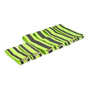 kwmobile 6X Reflektorband elastisch Neon-Gelb – Reflektor Armband 4X lang 2X kurz mit Klettverschluss – EN13356 Reflexband Sicherheit Kinder