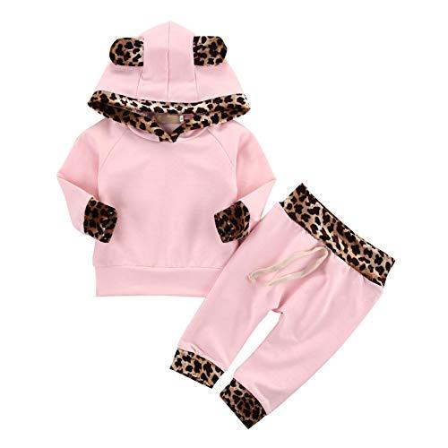 Shiningbaby Baby Mädchen Outfit Leopard gedruckt Hoodie Sweatshirt und Hose 2 Stück Kleidung Set (Leopard Pullover Hoodie)