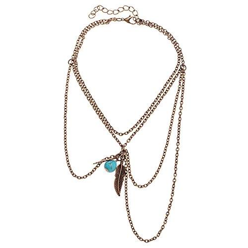 Orientalische Vintage Oberarmkette Oberarm Festival Körper Body Arm Kette Schmuck mit Perle und Feder in Gold-Optik von DesiDo®