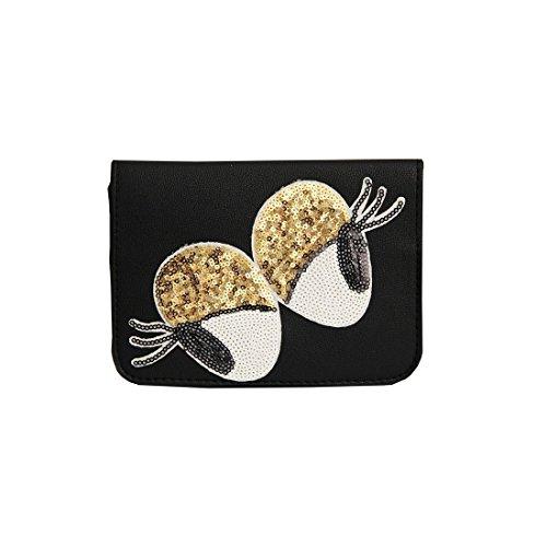 sweet deluxe 06466 Damen Handtasche für jeden Anlass | Handtaschen zum Umhängen | Geschnkidee für Sie Glamour Eyes | Schwarz / Gold