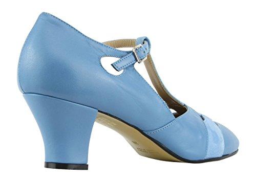 Rumpf Premium Line 9233 Damen Swing Lindy Hop Balboa Tanz Schuhe Leder Absatz 5 cm, Blau, 38 EU - 5