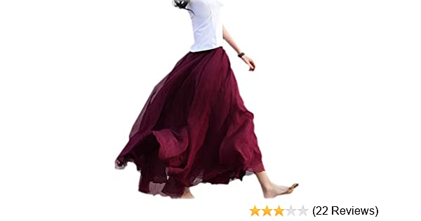 f577af217577 Finejo Womens Chiffon Retro Long Maxi Skirt Vintage Dress Wine Red: Amazon. co.uk: Clothing