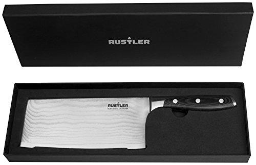 Rustler Damaszener Hackmesser Fleischmesser | Küchenbeil | chinesiches Kochmesser aus Damaszenerstahl mit VG-10 Stahlkern | mit ergonomisch geformten Stahl-Griff und Micarta-Holz