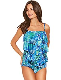 7dda671e017ef M&Co Ladies Swimwear Floral Palm Print Adjustable Multiway Straps Frill  Front Tankini Top