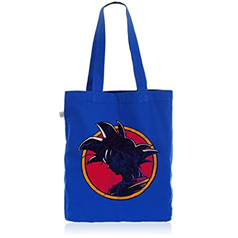 style3 Goku Vintage Biobaumwolle Beutel Jutebeutel Tasche Tote Bag, Farbe:Blau