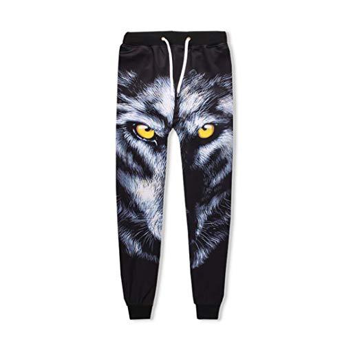 3D Hoodies AnzüGe Unisex Sweatshirt Jogger Lustige Animal Wolf Print Set 3D Trainingsanzug Hose Only Pant L