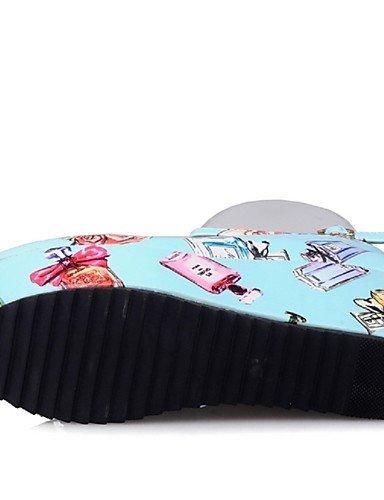 WSS 2016 Chaussures Femme-Habillé / Décontracté / Soirée & Evénement-Noir / Bleu / Rouge-Plateforme-A Plateau / Bout Arrondi-Chaussures à Talons- blue-us6.5-7 / eu37 / uk4.5-5 / cn37