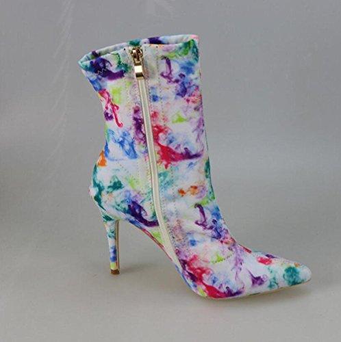 WYWQ Caricamenti del sistema sottili del tallone delle alte scarpe da donna Stiletto Mid-Calf Graffiti Colore chiuso a punta laterale 34-43 Custom , 43 , doodle 43