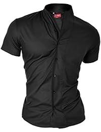D&R Fashion Men's Shirt with Short Sleev and Grandad Collar