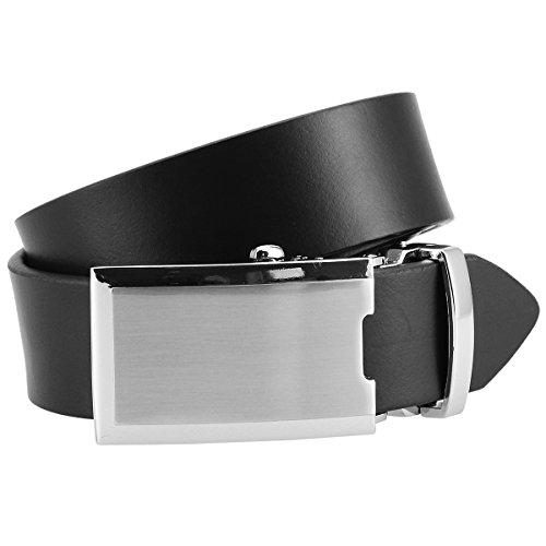 LINDENMANN Ledergürtel Herren/Gürtel Herren, Rindleder-Gürtel XL mit Automatik-Koppelschließe, schwarz, Größe/Size:90;Farbe/Color:schwarz