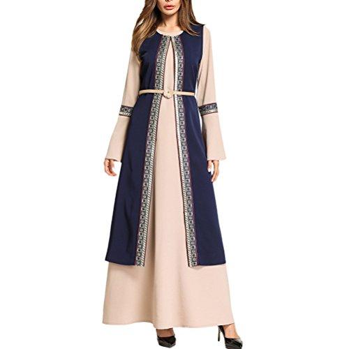 Zhuhaitf Volle Länge Langarm Kaftan Saudi-Stil Langarm Eine Linie Maxikleid Islamische Abayas für Frauen - Marokkanische Brust